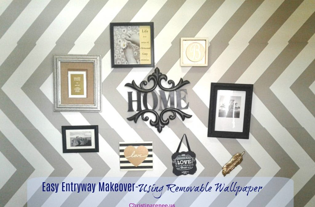 Easy Entryway Makeover- Using Removable Wallpaper
